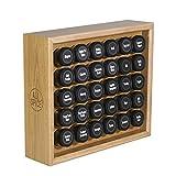 AllSpice Wooden Spice Rack, Includes 30 4oz Jars- Oak