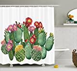 Cactus Decor Shower Curtain by Ambesonne, Saguaro Barrel Hedge Hog Prickly Pear Opuntia Tropical Botany Garden Plants, Fabric Bathroom Decor Set with Hooks, 75 Inches Long, Multicolor
