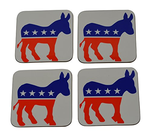 - Democrat Donkey Drink Coaster Set Gift For Liberal DNC Home Kitchen Bar Barware