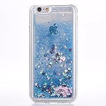 iPhone 6s plus case, Myckuu Soft TPU Liquid, Cool Quicksand Moving Stars Bling Glitter Floating Dynamic Flowing Case Liquid Cover for Iphone 6 plus (love+blue)