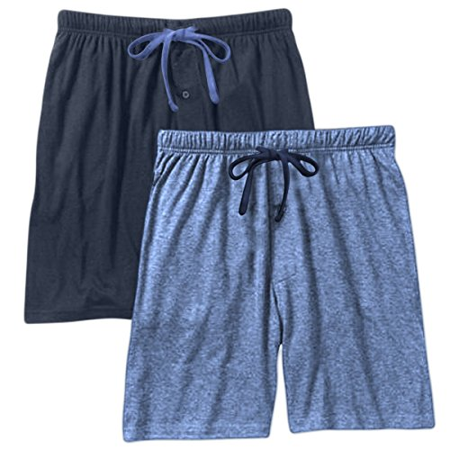 (Hanes Mens Jersey Lounge Drawstring Shorts With Logo Waistband, Champbre Blue Heather/Blue Depth, Pack 2 40129-X-Large)