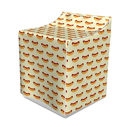 Ambesonne Hot Dog Washer Cover, Sandwich with Mustard and Ketchup on Sausage Roll Simplistic Design, Washroom Decor with Dust Protection, 29