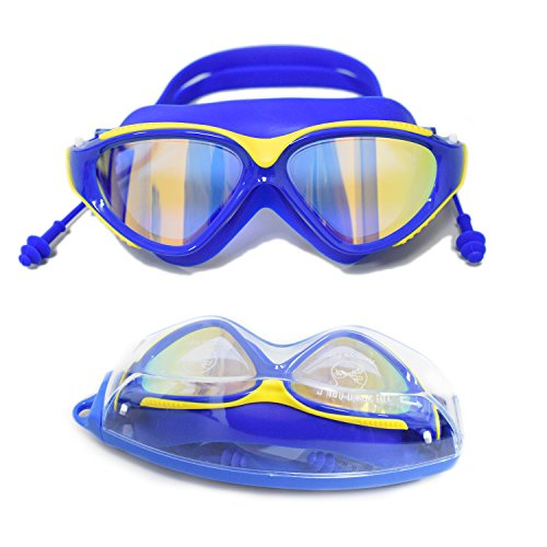 Large Frame Swim Goggles, Colorful Plated Swimming Glasses with Anti-Fog, UV Protection, Free Protection Case, Fit for Teenagers Adult Men Women Youth(blue)