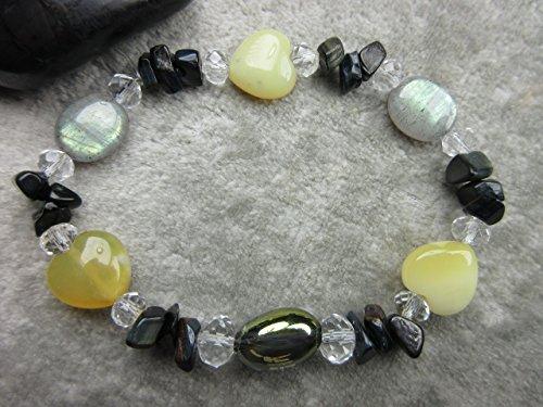 Genuine Yellow Opal, Champagne Aura Quartz, Labradorite and Obsidian Healing Bracelet - Champagne Quartz Bracelet