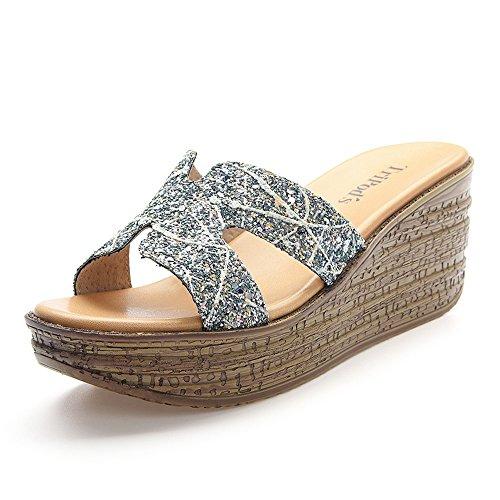 Impermeabile Pantofole Donna cn 5 Estate Moda uk5 Paillettes Toe 5cm Romane Blu Eu38 Scarpe Dimensioni 6 Colore Tipo Sandali Da Piattaforma Open Zhirong H Spiaggia nSw7YY
