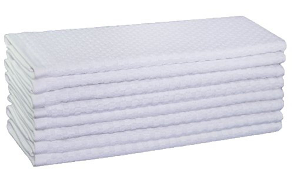 Cotton Craft - 8 Pack - Euro Cafe Waffle Weave Terry Kitchen Towels - 16x28 Inches - White - 400 GSM quality - 100% Ringspun 2 Ply Cotton - Highly Absorbent Low Lint - Multi Purpose