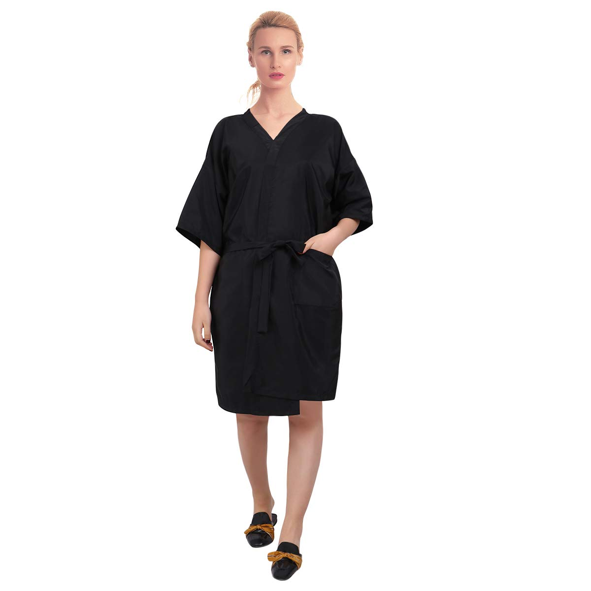 Barber Grooming Smock for Women Men, Salon Client Gowns Capes Robes Hair Salon Smock Waterproof (Black)