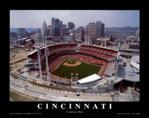 Cincinnati Reds Great American Ballpark Aerial Photo Stadium Framed F8855