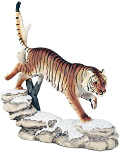 White Siberian Tigers Trotting On Snowcap Rocks Wildlife 11 Inch Collectible Fig
