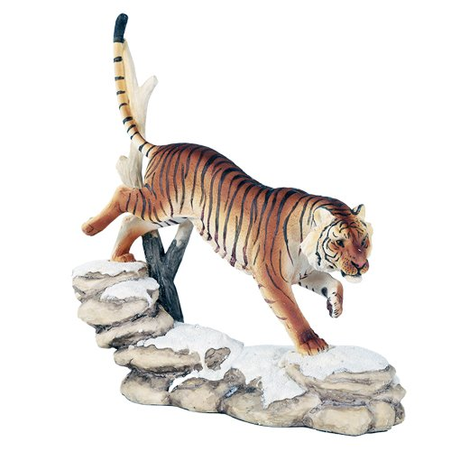 Pacific Giftware Wildlife Bengal Tiger Trotting On Snowcap Rocks 11 Inch Collectible Figurine Statue Home Decor Gift ()