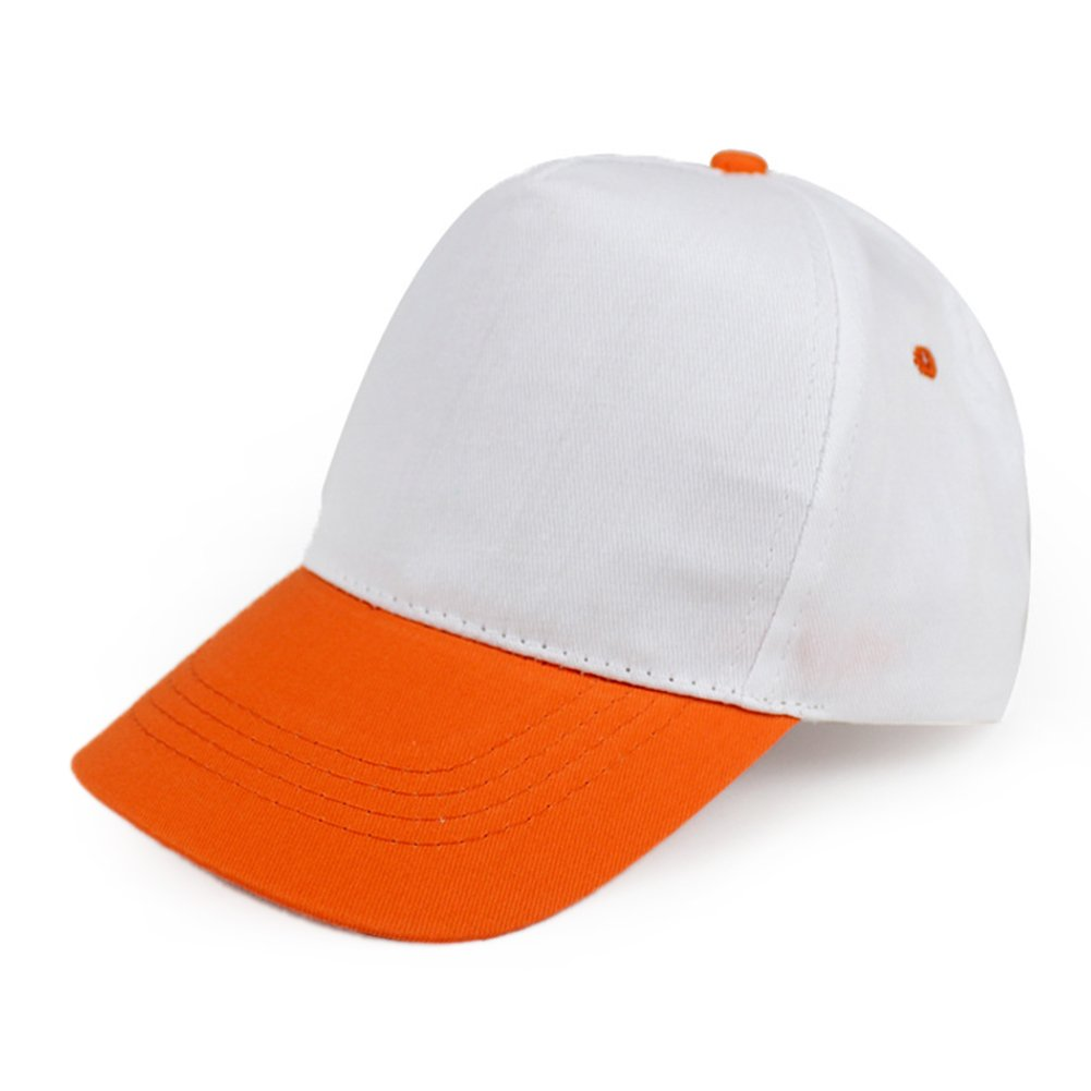 Opromo Kids Two Tone Baseball Cap, Adjustable Hat, Comes in Different Colors-Orange/White-48PCS