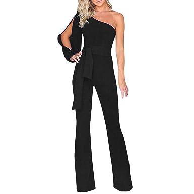 cd34d559d57 SCSAlgin blouse Women Solid Long Sleeve Cold Shoulder Jumpsuit Casual  Clubwear Wide Leg Pants (Black