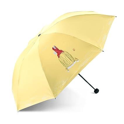 LWZ-Paraguas Paraguas Plegable Creativo De La Historieta Para Consolidar El Viento Y La Manija