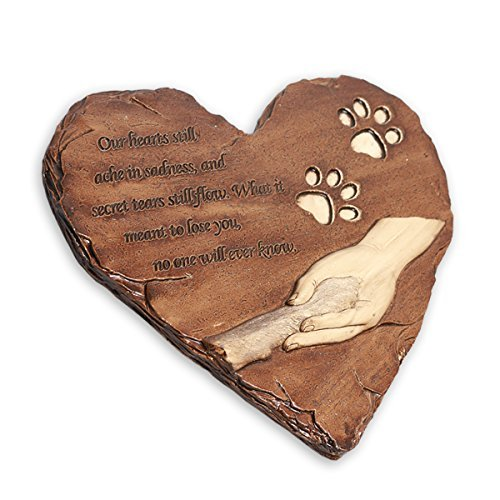 JHB New York Dog Memorial Stone, Hand-Printed Heart-Shaped Personalized Loss of Pet Gifts Dog with Sympathy Poem and Paw in Hand Design, (White) by JHB