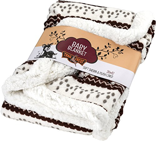 (TrailCrest Baby Soft Sherpa Blanket-Plush Fleece Reversible Infant Throw,Brown)