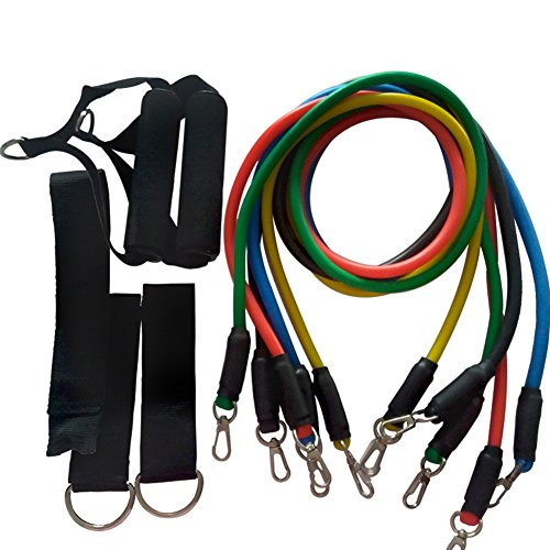 EBRICKON Fitness Equipments Workout Resistance Bands Latex 11pcs/set Exercise Pilates Tubes Pull Rope Expanders Training by EBRICKON