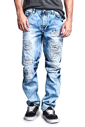 G-Style USA Mens Biker Distressed Slim Jeans - Acid Wash Knee Hole