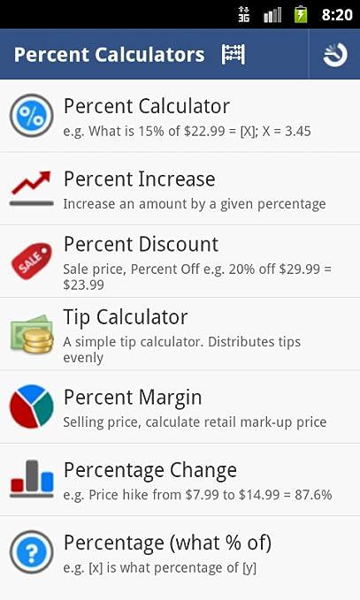 amazon com percent calculator pro appstore for android