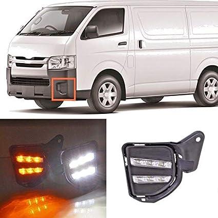 auto-tech 12 fotos LED Luz Luz Diurna Coche DRL Niebla lámpara LED con intermitente kit de sustitución, para Toyota HiAce con amarillo luz 2014 – 2016: Amazon.es: Coche y moto