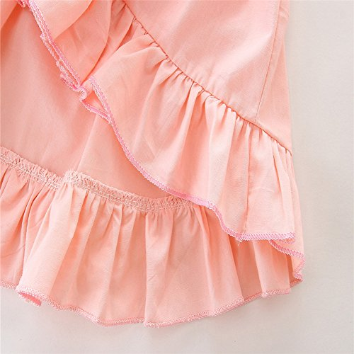 Baby Girls Outfit Set Pink Half Sleeve Ruffle Irregular Hem Blouse Top and Floral Pants Clothes 2PCS (0-6 Months, A)