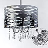 3-Light Polished Chrome Round Metal Shade Crystal Chandelier Ceiling Light, Drum Shade Pendant Light with Crystal Beads,15.7''Diameter