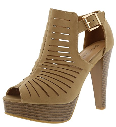 Top Moda Women's Table-6 Gladiator Bootie Sandals,8.5 B(M) US,Tan (Tan Peep Toe)