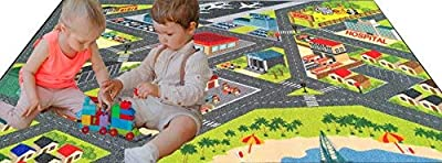 KC Cubs Playtime Collection Road Map Educational Learning Area Rug Carpet for Kids and Children Bedroom and Playroom