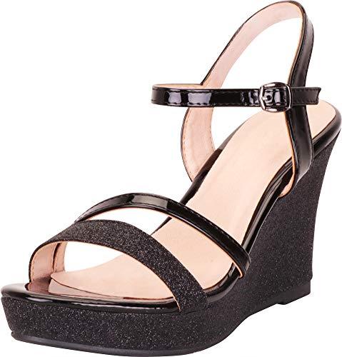- Cambridge Select Women's Strappy Glitter Chunky Platform Wedge Sandal,9 B(M) US,Black
