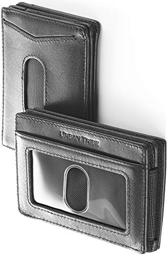 (Compact RFID Card Sleeve Wallet Premium Leather Money Clip Card Holder for Up to 10)