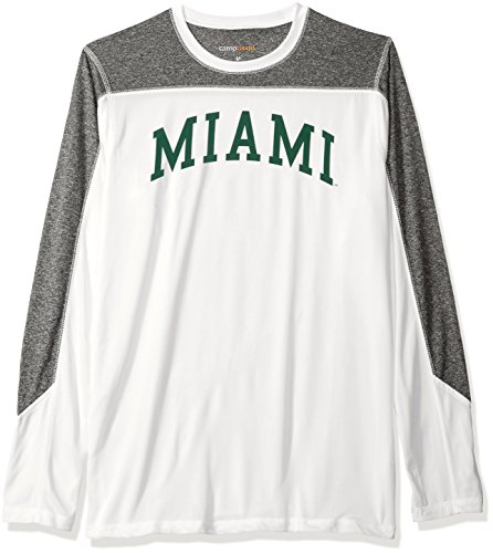NCAA Miami Hurricanes Men's Paneled Long Sleeve Tee, Medium, White