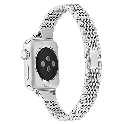 Mtozon Bands Compatible Apple Watch Band 38mm 40mm Series4/3/2/1, Replacement Metal with Rhinestone Bling Bracelet Wristband Women, Silver