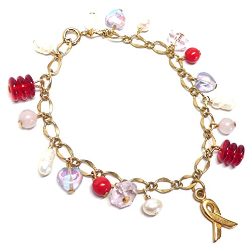 - Awareness Ribbon Charm Bracelet Pink Red Lavender White