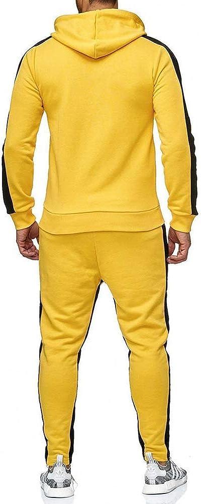 DANCEYOU Mens Tracksuit Joggers Fleece Hoodie Sweatshirt Pants Set