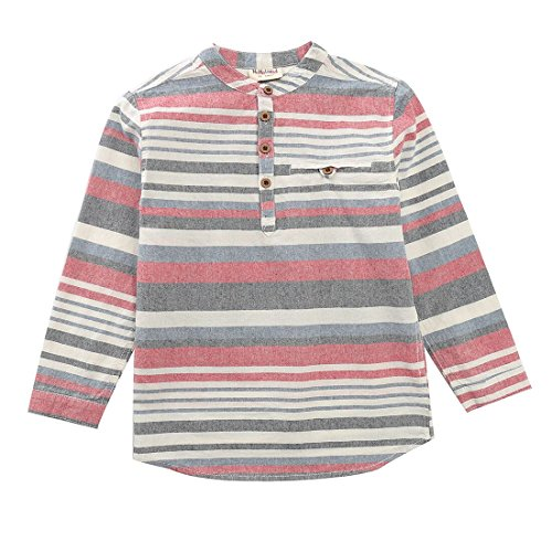 MOMOLAND Boys Long Sleeve Mandarin Collar Woven Button Down Shirt Linen Design White Blue (4 Years, Stripe-Multi Colors)