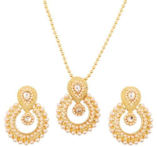 Touchstone Indian Bollywood elite Mughal Kundan polki look Chandbali Moon faux pearls bridal designer jewelry pendant set for women in gold tone
