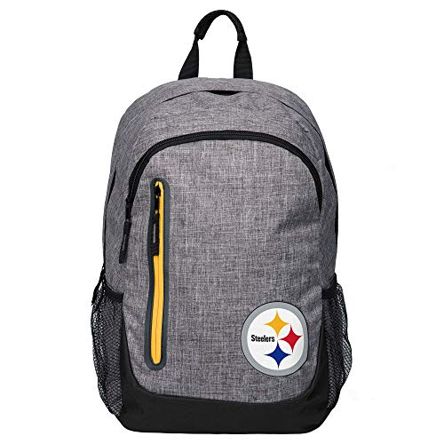Forever Collectibles NFL Pittsburgh Steelers Heather Grey Backpack, Team Color, One Size