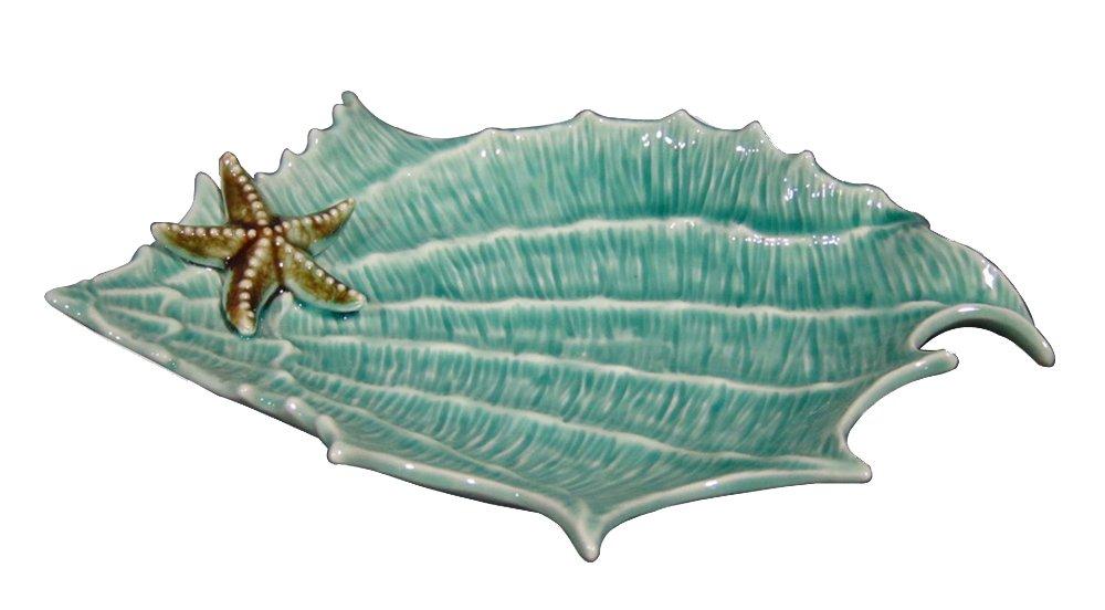 Blue Sky Ceramic Shell Figural Plate, 11.5 x 8 x 1.5'', Blue