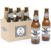We Still Do - 25th Wedding Anniversary 6 Beer Bottle Labels and 1 Carrier