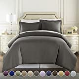 HC COLLECTION - 1500 Thread Count Egyptian Quality Duvet Cover Set Full Queen Size, 3pc Luxury Soft, Queen Gray
