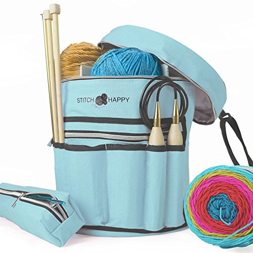 - Stitch Happy Knitting Bag, Angel Blue: 7 Pocket Yarn Bag, Crochet Bag, Yarn Storage, Crochet Storage