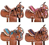 "AceRugs 10"" 12"" 13"" Blue Pink Purple Black Crystal Leather Hand Tooled Barrel Pleasure Trail Show Western Pony Youth Kids Pony Horse Saddle TACK Bridle Breast Collar"