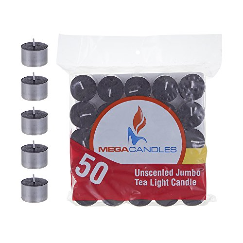 Mega Candles 50 pcs Unscented Black Jumbo Tea Lights Candle | Pressed Wax Candles 8 Hour Burn Time | for Home Décor, Wedding Receptions, Baby Showers, Birthdays, Celebrations, Party Favors & More