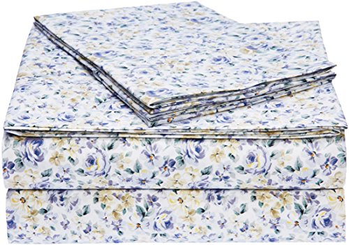AmazonBasics Microfiber Sheet Set - Queen, Blue Floral - Floral Bed Set