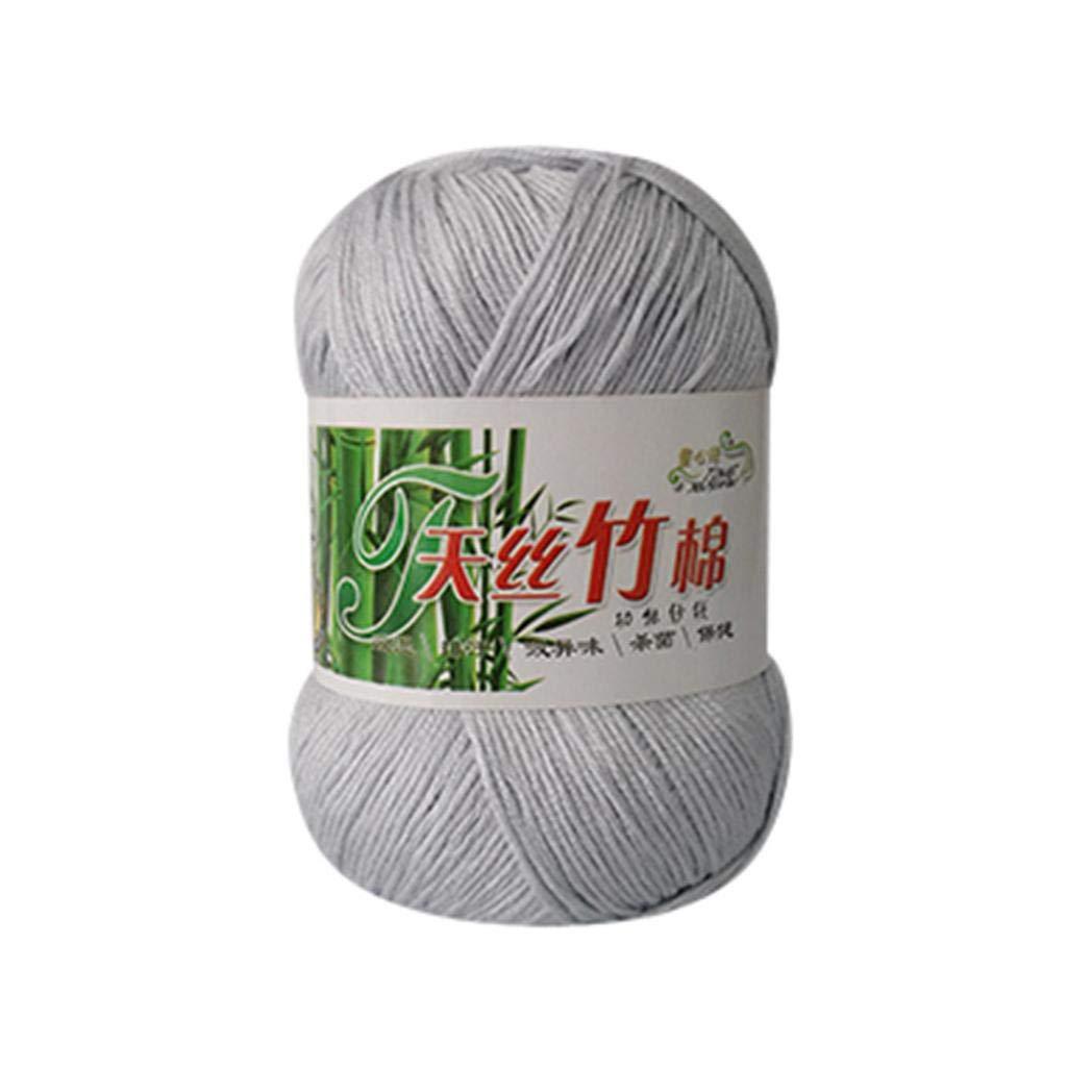 Iusun 50g Bamboo Cotton Wool Yarn Knitting Crochet Yarn Warm Knitwear Soft Yarn for DIY Craft Knit Baby Sweater Scarf Hats (L)