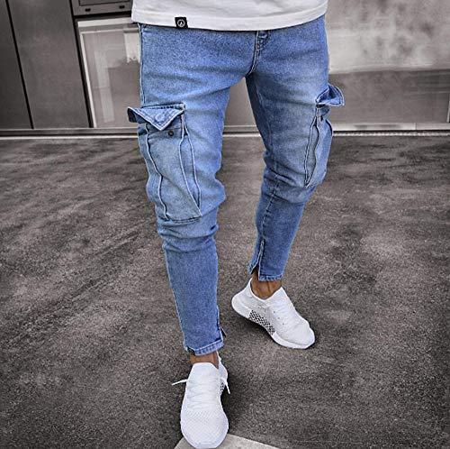Famesale Work Jeans Pantalones Carga Bolsillos múltiples