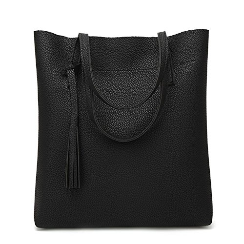 Leather Pure Totes Women Shopping Casual Domybest Black Handbags Tassels PU Lichi Shoulder qIwUH8