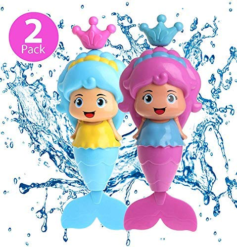 Mermaid Baby Bath Toy Mermaid Wind Up Floating Water Toys for Kids Toddlers - Swimming Pool Beach Bathing Time Bath Tub Fun - 2 Pack