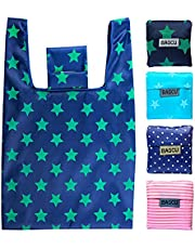 4 Pack Folding Reusable Shopping Bags Machine Washable Grocery Bags Large Capacity Durable Sturdy Lightweight Polyester Fabric for Kitchen Shopping Eco Friendly Bag