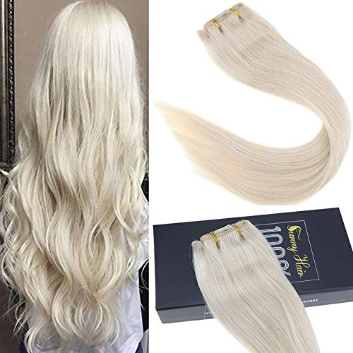 Sunny 16inch 7pcs/120g Double Weft Clip in Human Hair Extensions Platinum Blonde Full Head Human Hair Extensions Clip in Real Hair