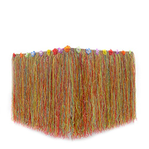 B&S FEEL Hawaiian Luau Grass Table Skirt Trimmed with Tropical Flowers for Tabletop Party Decoration Party Supplies (Colorful)
